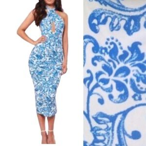NWT Missguided blue cross-front halter maxi dress